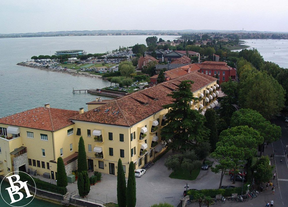 Long peninsula of Sirmione jutting into the lake
