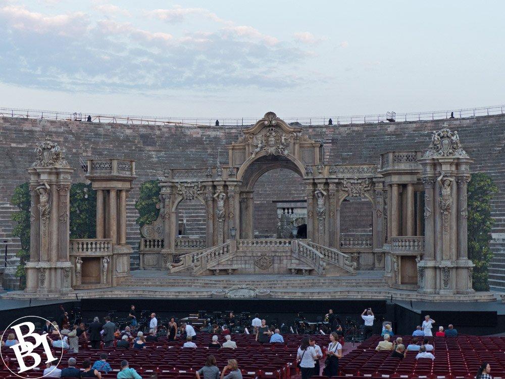 Stage scenery at the Verona Opera Festival