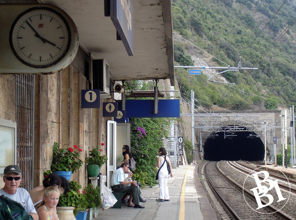 Station platform and tunnel cut into the cliffs