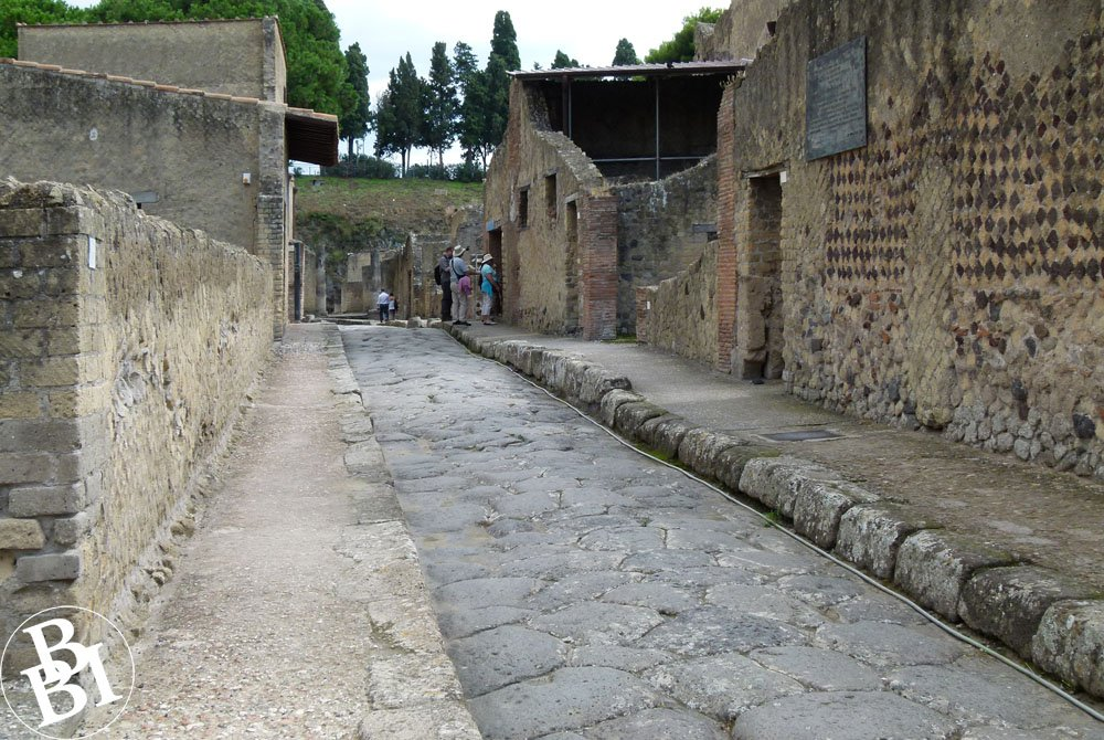 Old Roman street with houses on both sides