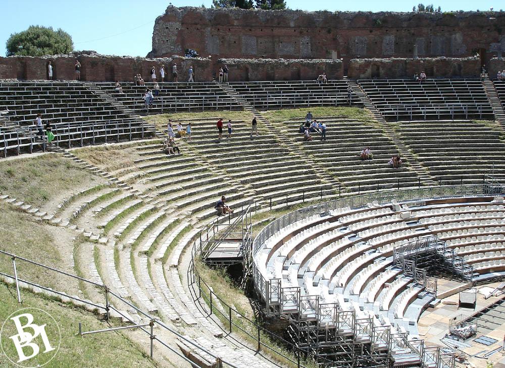 Seats of the Roman amphitheatre in Taormina
