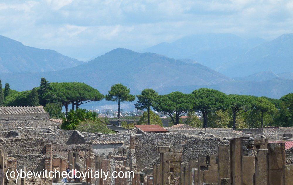 The town of Pompeii, with Vesuvius in the distance