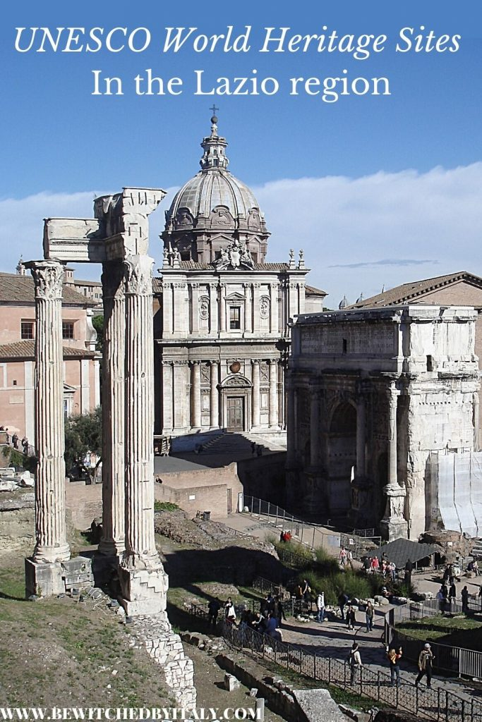 Pinnable image of World Heritage Sites in Lazio - columns and Roman remains