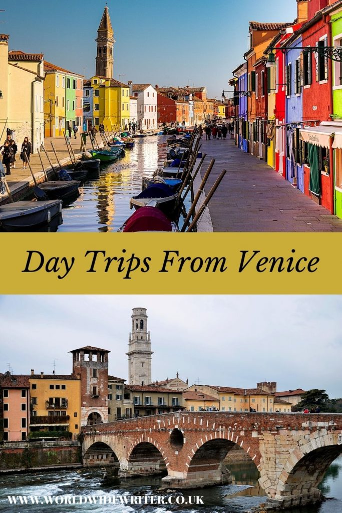 Pinnable image of day trips from Venice - colourful houses in Burano and the old town of Verona