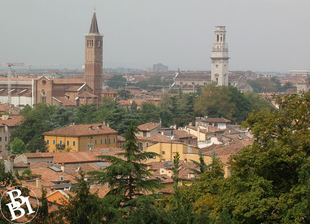 View over Verona with roof tops and towers