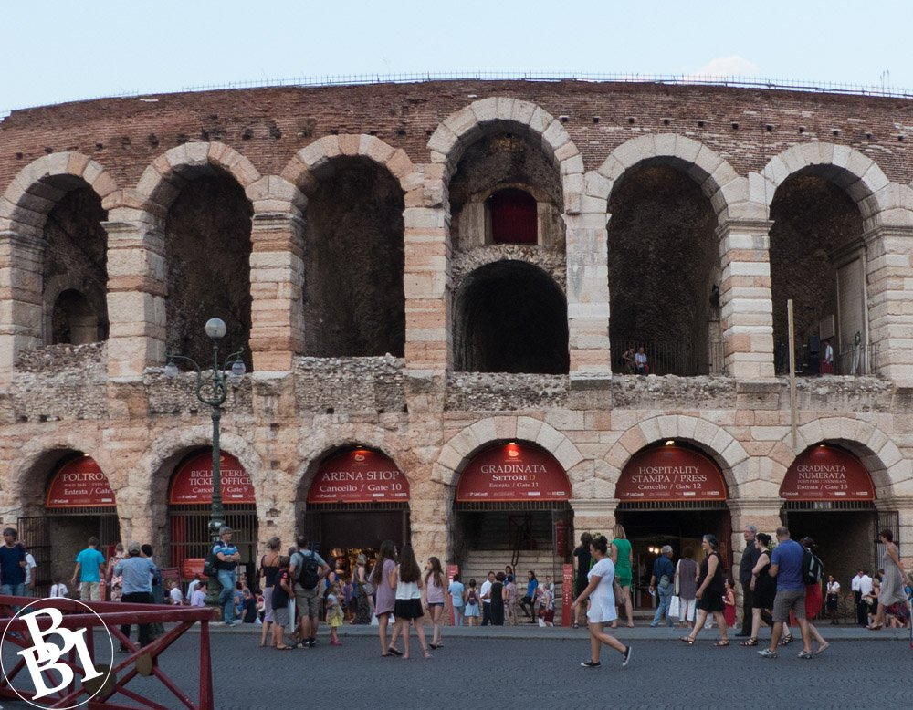 Crowds waiting outside the Roman Arena in Verona