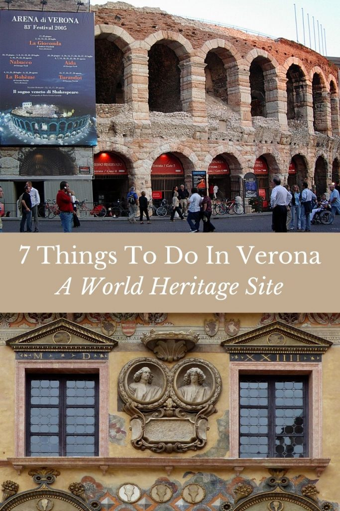 Pinnable image of things to do in Verona - the Roman Arena and a typical Verona building