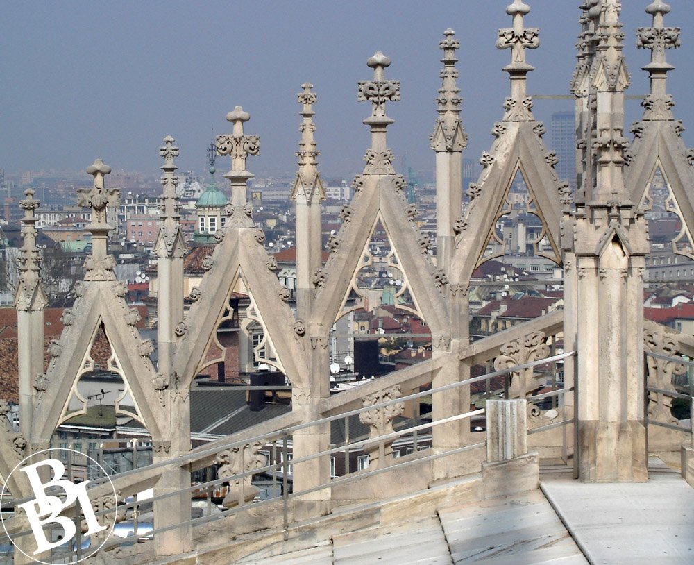 Stone terrace, and a view over Milan