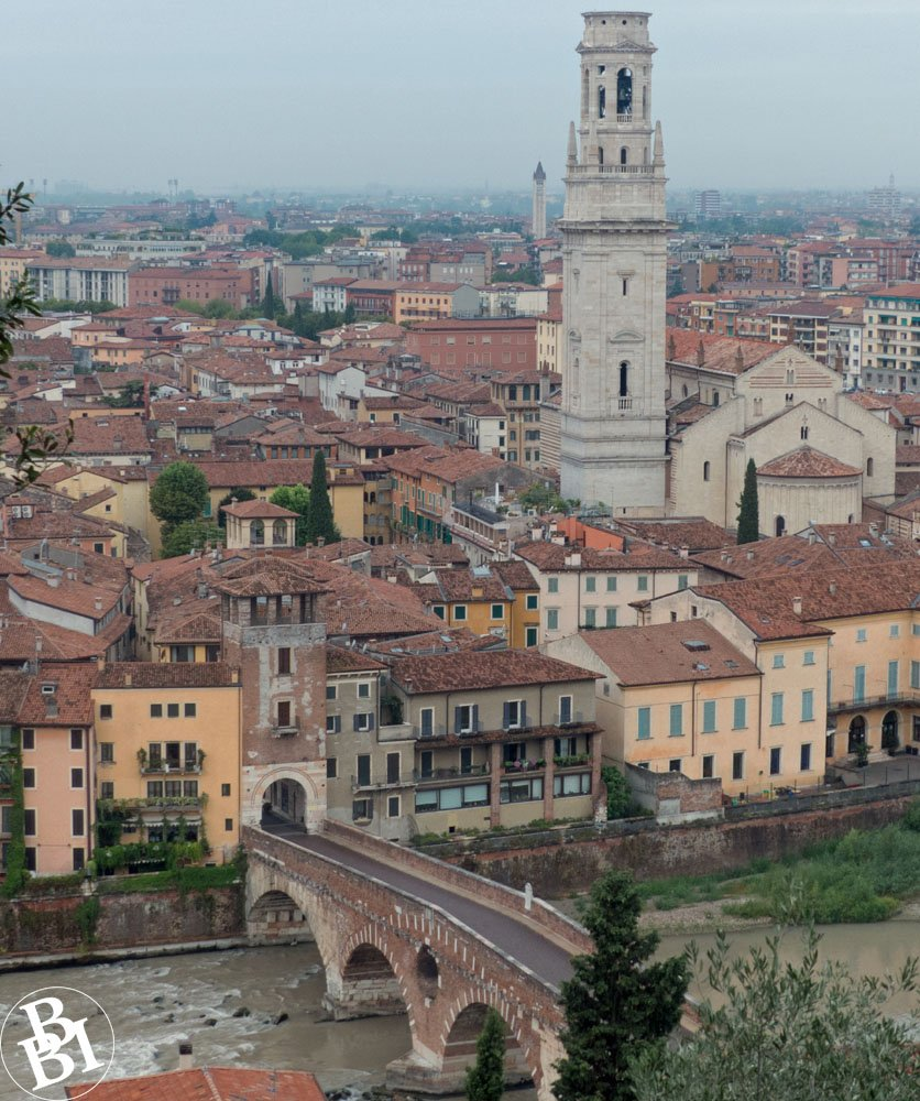 View of Verona, with river, bridge, rooftops and a tower
