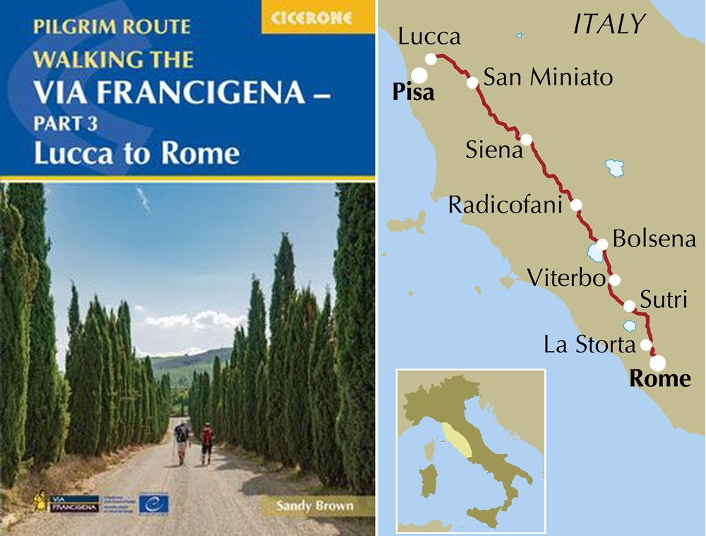Walking the Via Francigena - book cover and route map